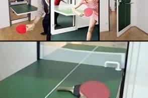 PING PONG TABLE HIDDEN IN A DOOR
