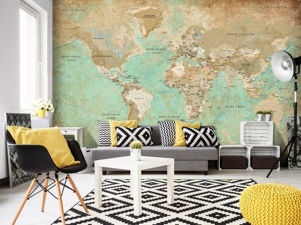 Carta da parati con mappa geografica design miss for Carta da parati online shop