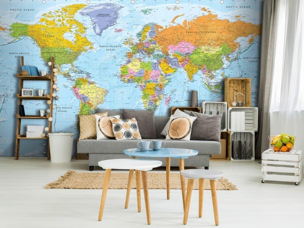 Carta da parati con mappa geografica design miss for Carta parati mondo