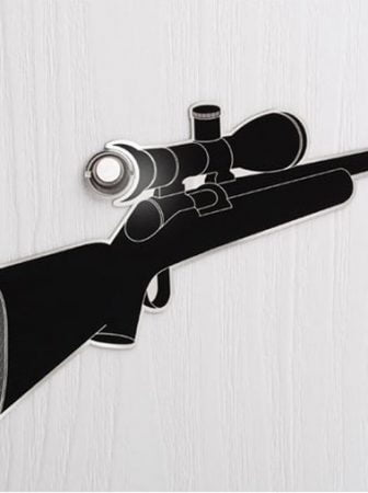 Door Peephole Gun Sticker