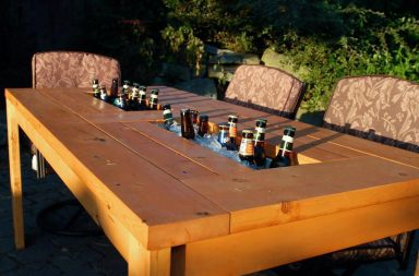 Tavolo da esterno fai da te con frigorifero integrato
