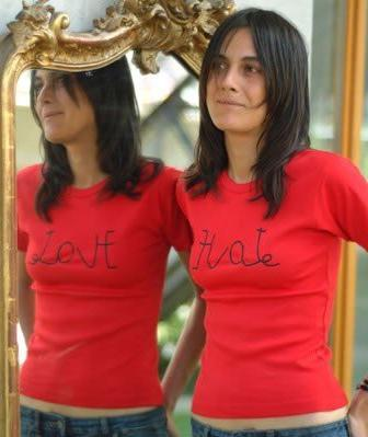 Love Hate Mirror Design T-Shirt