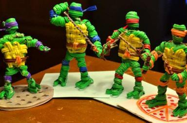 Teenage Mutant Ninja Turtles made from twist ties