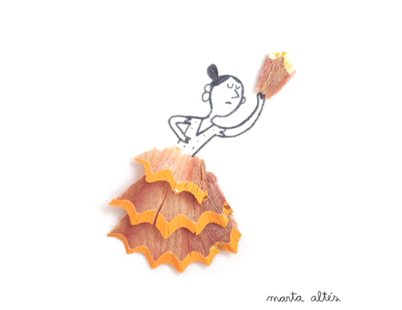 Playing with pencil shavings by Marta Altés