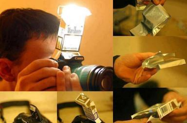 "Tutorial DIY Flash ""Diffuser"" using a cigarette box"