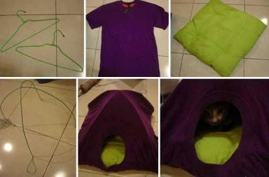 Old T-shirt Cat Tent – Tutorial
