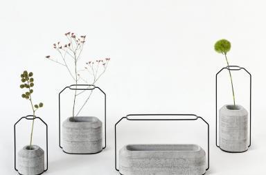 Vasi cemento e acciaio in stile minimal