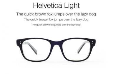 Occhiali ispirati ai caratteri Helvetica e Garamound