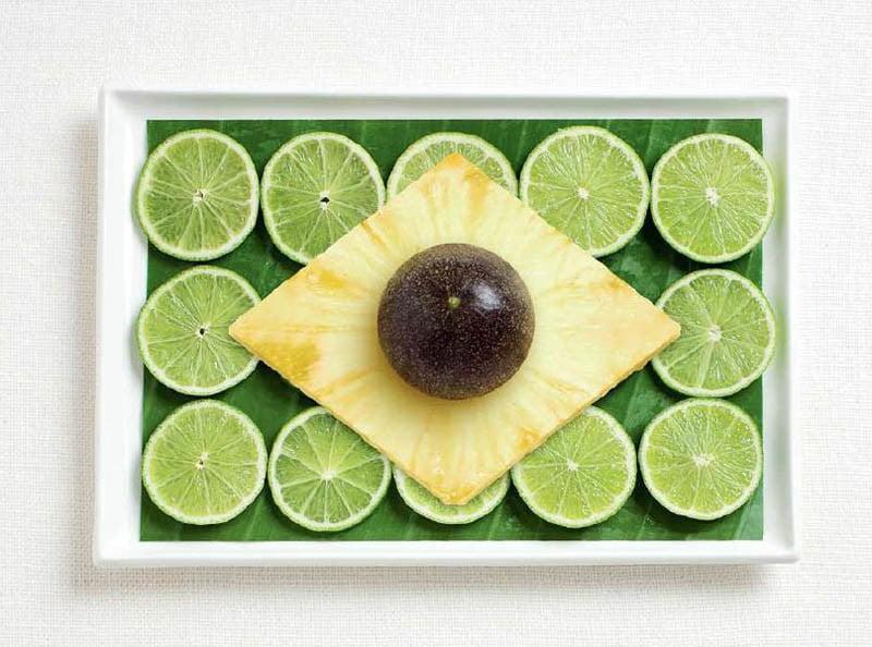 BRASILE: foglie di banano, lime, ananas e frutto della passione