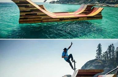 Floating Skate Ramp at Lake Tahoe, California
