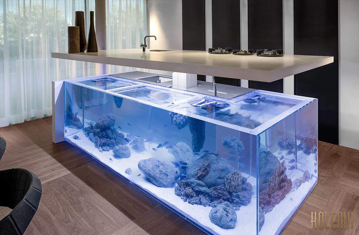 Un acquario spettacolare per cucine di lusso design miss for Acquario arredamento