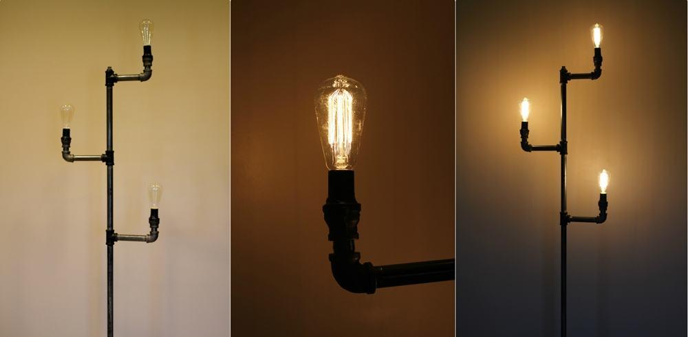 Lampada industriale fai da te design miss for Tubi idraulici arredamento