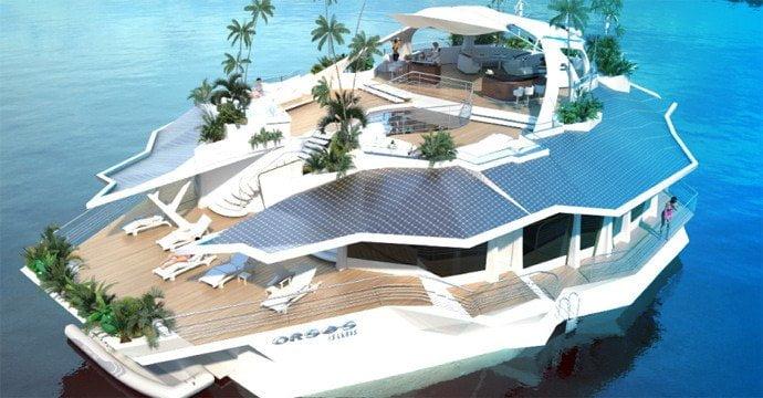 Lusso e comodit su un isola galleggiante design miss for Un mezzo galleggiante