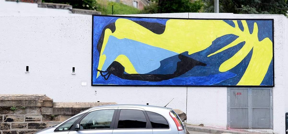 Collage de l artiste Bilos pour le MUR de Saint Etienne France - Juin 2016 - Credit photo Ben Rch