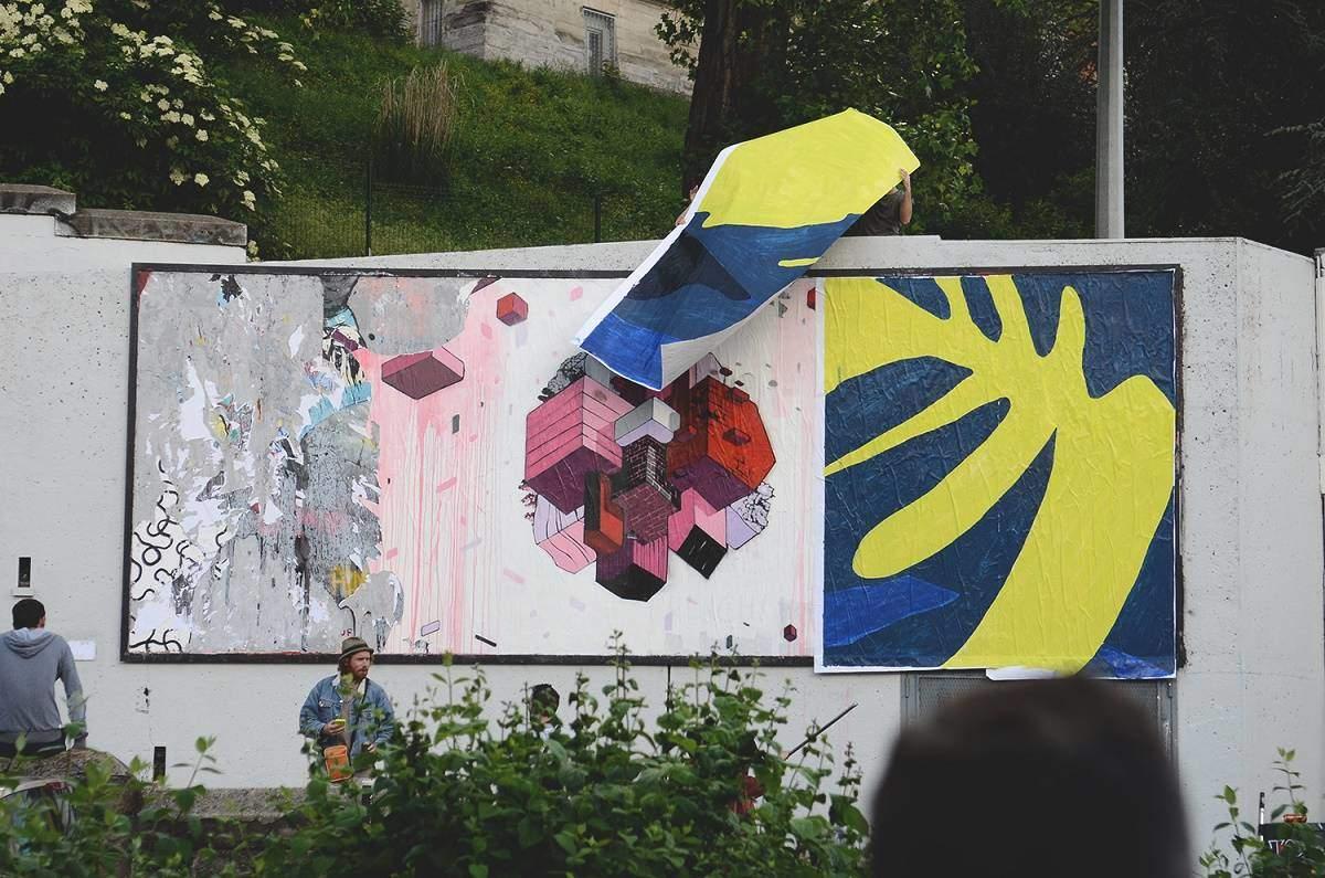 Collage de l artiste Bilos pour le MUR de Saint Etienne France - Juin 2016 - Credit photo Ben Rch_3