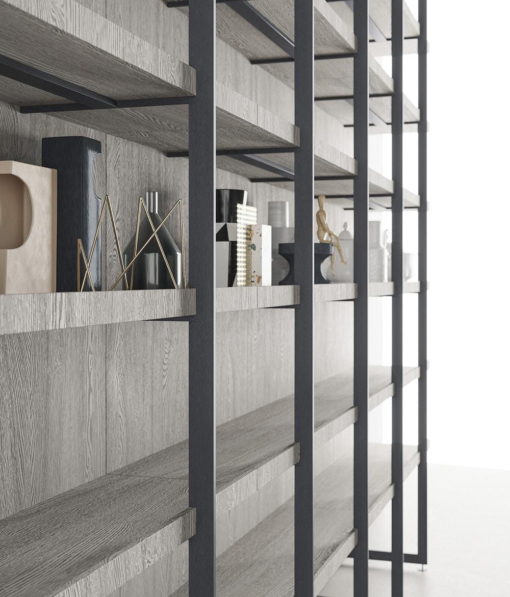 Libreria Metallo Modulare.Libreria Legno Metallo Architettura Modulare Design Miss